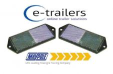 2x CLEAR FRONT TRAILER CARAVAN GATE POST CAR HORSEBOX REFLECTOR MP8851B 127x50x7